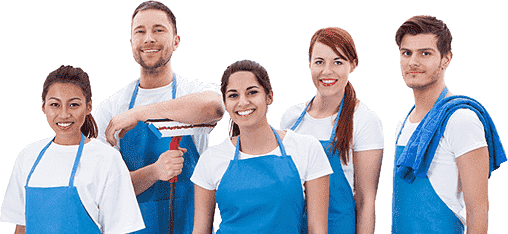 two men and three women wearing blue apron holding mop and rag